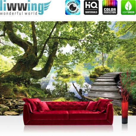 Vlies Fototapete no. 4444 | Natur Tapete Baum Wasser Ausblick Steg Ast grün | liwwing (R)