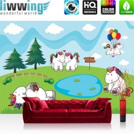 Vlies Fototapete no. 4582 | Kinder & Jugend Tapete Einhorn Pferd Tier Herz Liebe Regenbogen Ballons Wasser bunt | liwwing (R)