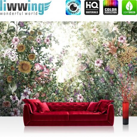 Vlies Fototapete no. 4518 | Gemälde & Kunstwerke Tapete Blumen Blüten Pflanzen Blätter Sträucher bunt | liwwing (R)