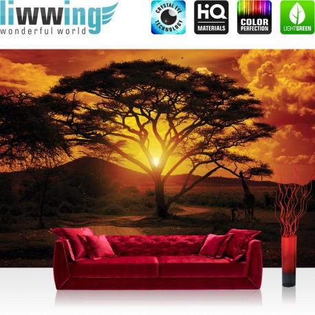"Vlies Fototapete ""no. 284"" | Sonnenuntergang Tapete Baum Weg Afrika Giraffe Romantik Abenddämmerung Orange"