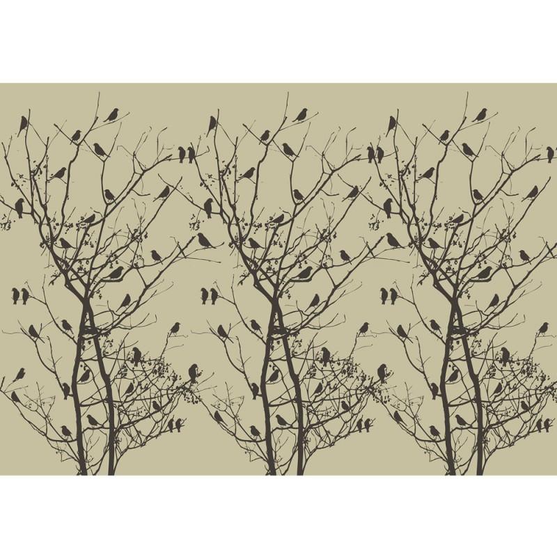 Fototapete no. 4547 | Natur Tapete Baum Bäume Vogel Vögel Blätter ...