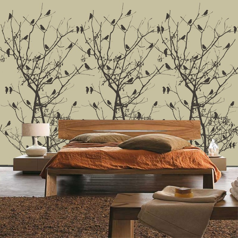 vlies fototapete no 4547 natur tapete baum b ume vogel. Black Bedroom Furniture Sets. Home Design Ideas