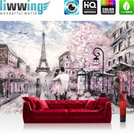 Vlies Fototapete no. 4551 | Gemälde & Kunstwerke Tapete Stadt Paris Frankreich Kunst Eiffelturm Liebe natural | liwwing (R)