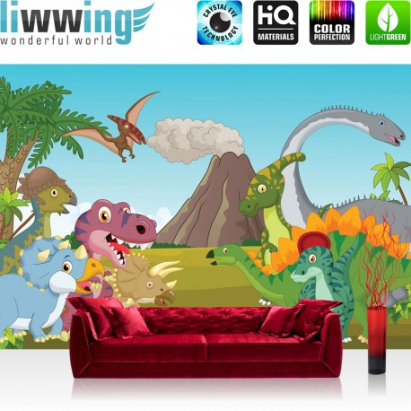 Fototapete no. 4530 | Kinder & Jugend Tapete Dinosaurier Vulkan Wald ...