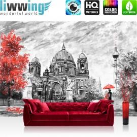 Vlies Fototapete no. 4555 | Gemälde & Kunstwerke Tapete Stadt Malerei Berlin Baum Stuhl Frau Mann rot | liwwing (R)