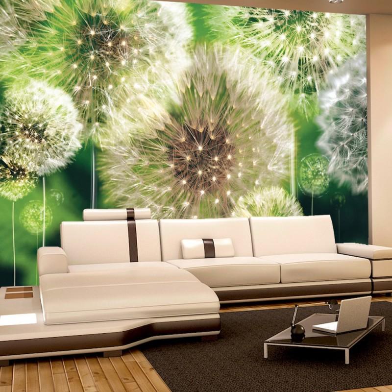 vlies fototapete no 285 pflanzen tapete pusteblumen wiese natur blumen gr n. Black Bedroom Furniture Sets. Home Design Ideas