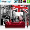 "Vlies Fototapete ""no. 286""   London Tapete London Bus Flagge Rot Schrift schwarz - weiß"