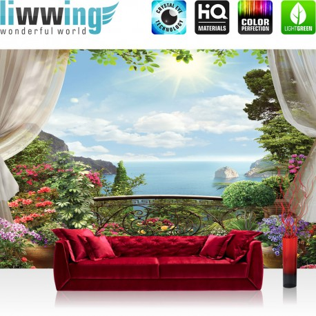 Vlies Fototapete no. 4538 | Natur Tapete Wolken Himmel Blumen Pflanzen Blick Terrasse natural | liwwing (R)