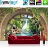 Vlies Fototapete no. 4559 | Natur Tapete Ausblick Fenster Bogen Wasser Gebirge Felsen Pflanzen 3D natural | liwwing (R)