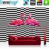 Vlies Fototapete no. 4349   Natur Tapete Flamingo Vogel Streifenmuster Muster rosa   liwwing (R)