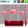 Vlies Fototapete no. 4350   Natur Tapete Abstraktion Kunst Geometrie Modern Design Streifen Vogel Flamingo rosa   liwwing (R)