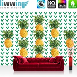 Vlies Fototapete no. 4351 | Gemälde & Kunstwerke Tapete Ananas Natur Haken Gelb | liwwing (R)