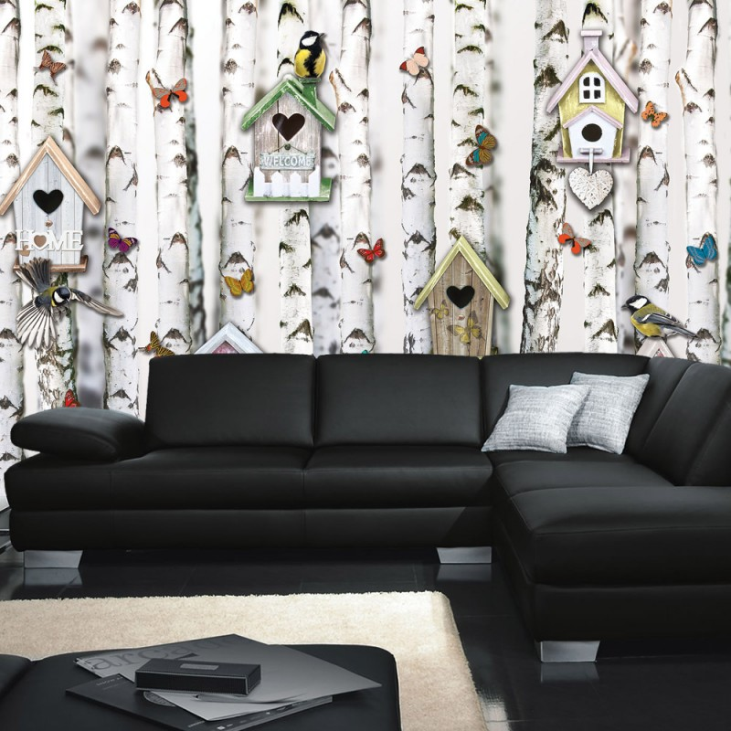 vlies fototapete no 4317 sonstiges tapete b ume wald tiere v gel vogelhaus schmetterling. Black Bedroom Furniture Sets. Home Design Ideas