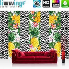 Vlies Fototapete no. 4352 | Gemälde & Kunstwerke Tapete Ananas Natur Muster Streifen bunt | liwwing (R)