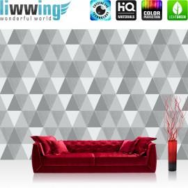 Vlies Fototapete no. 4319 | Gemälde & Kunstwerke Tapete Geometrie Geometrische Dreiecke Mosaik Silber grau | liwwing (R)