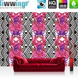 Vlies Fototapete no. 4355 | Gemälde & Kunstwerke Tapete Blumen Pflanzen Mosaik Abstraktion rosa | liwwing (R)