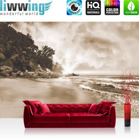 Vlies Fototapete no. 4322 | Natur Tapete Sepia Sand Wasser Ozean Wolken braun | liwwing (R)