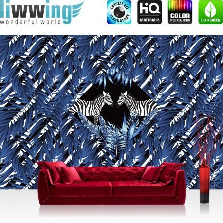 Vlies Fototapete no. 4359 | Gemälde & Kunstwerke Tapete Blätter Muster Streifen Zebras Tiere blau | liwwing (R)