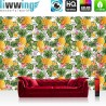 Vlies Fototapete no. 4364 | Gemälde & Kunstwerke Tapete Ananas Natur Blumen Blüten Blätter Muster bunt | liwwing (R)