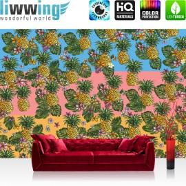 Vlies Fototapete no. 4365 | Gemälde & Kunstwerke Tapete Ananas Natur Blumen Blüten Blätter Streifen bunt | liwwing (R)