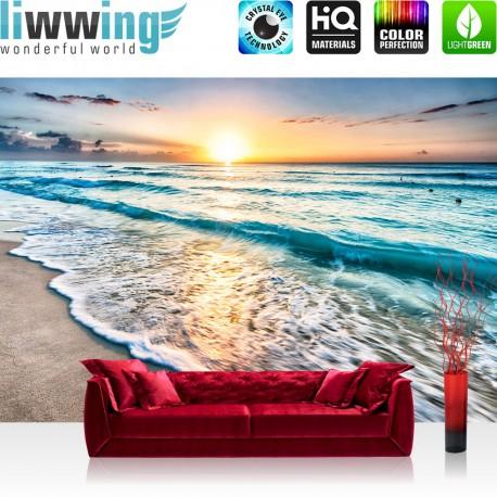 Vlies Fototapete no. 4338 | Natur Tapete Sand Sonne Sonnenuntergang Wellen blau | liwwing (R)