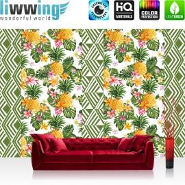 Vlies Fototapete no. 4367 | Gemälde & Kunstwerke Tapete Ananas Natur Blumen Blätter Muster Streifen bunt | liwwing (R)