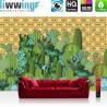 Vlies Fototapete no. 4370 | Gemälde & Kunstwerke Tapete Kaktus Abstraktion Geometrie Modern Design Muster grün | liwwing (R)
