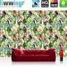 Vlies Fototapete no. 4377 | Gemälde & Kunstwerke Tapete Abstraktion Modern Design Vogel Blume Flamingo Blatt bunt | liwwing (R)