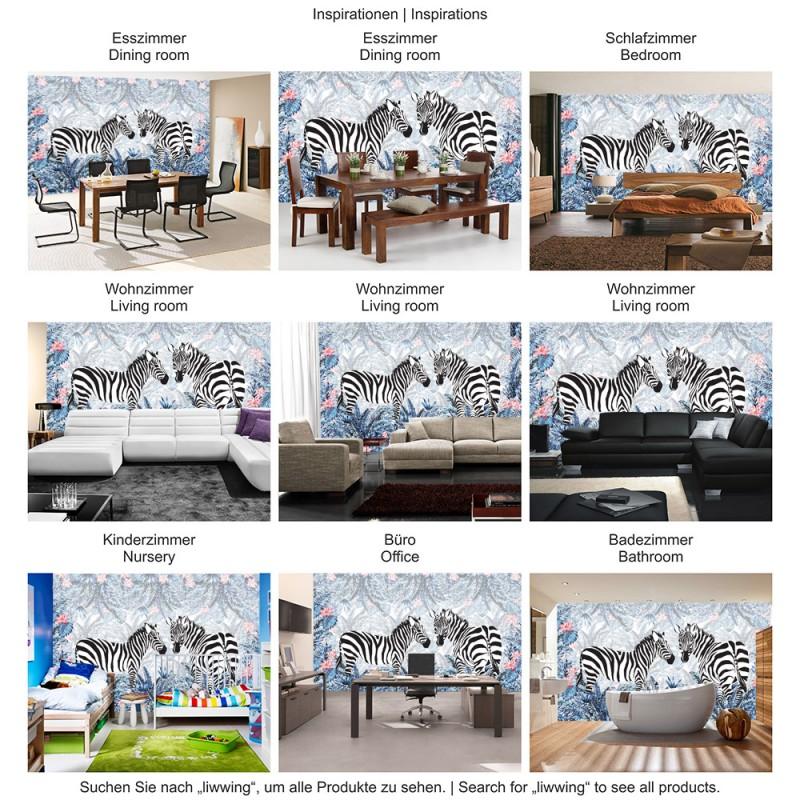 4385 | Gemälde U0026 Kunstwerke Tapete Abstraktion Design Zebra Tiere Blumen  Dschungel Bunt ...