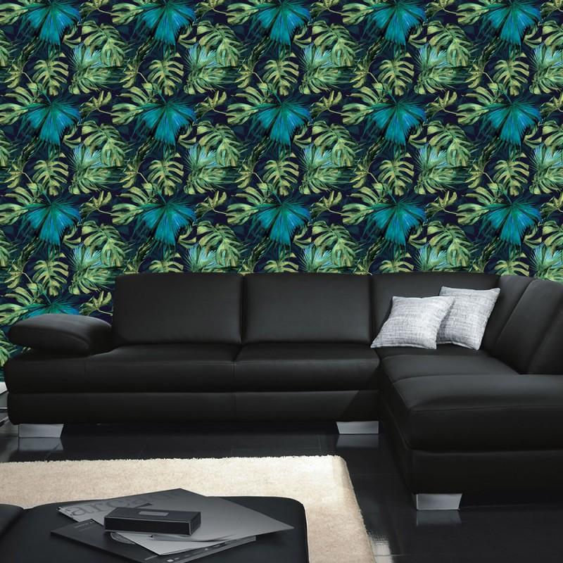 vlies fototapete no 4391 gem lde kunstwerke tapete blatt natur blau abstraktion gr n. Black Bedroom Furniture Sets. Home Design Ideas