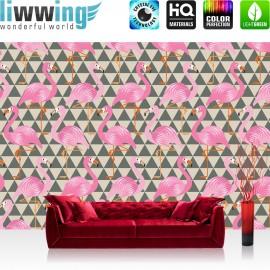 Vlies Fototapete no. 4404 | Gemälde & Kunstwerke Tapete Abstraktion Geometrie Modern Flamingo Dreieck Vogel pink | liwwing (R)
