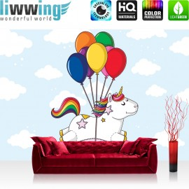 Vlies Fototapete no. 4466 | Kinder & Jugend Tapete Einhorn Ballons Wolken Regenbogen bunt | liwwing (R)
