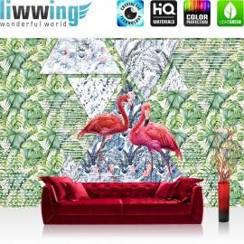 Vlies Fototapete no. 4387 | Gemälde & Kunstwerke Tapete Abstraktion Design Mosaik Flamingo Vogel Geometrie bunt | liwwing (R)