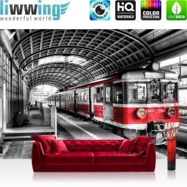 Vlies Fototapete no. 4514 | Städte & Länder Tapete Zug U-Bahn Gebäude Bahngleise rot | liwwing (R)