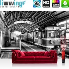 Vlies Fototapete no. 4505 | Städte & Länder Tapete Zug U-Bahn Gebäude Bahngleise schwarz - weiß | liwwing (R)