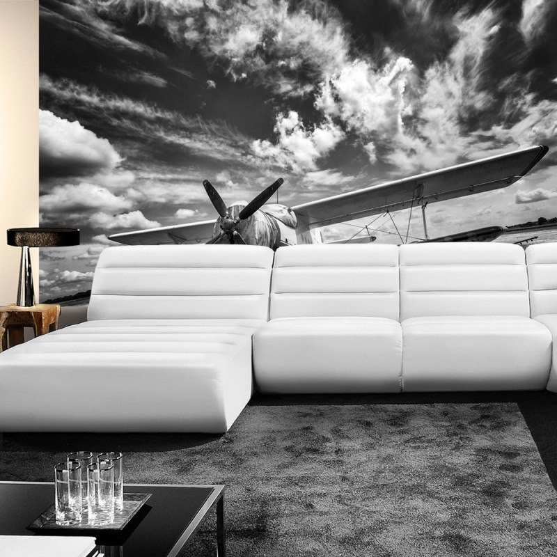 vlies fototapete no 4506 sonstiges tapete flugzeug himmel wolken reise schwarz wei. Black Bedroom Furniture Sets. Home Design Ideas