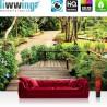 Vlies Fototapete no. 4488 | Natur Tapete Ausblick Weg Park Bäume Steg Brücke grün | liwwing (R)