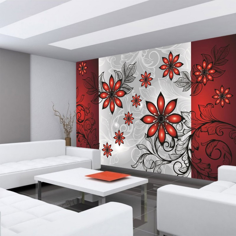 vlies fototapete no 308 ornamente tapete blumen verspielt rot. Black Bedroom Furniture Sets. Home Design Ideas