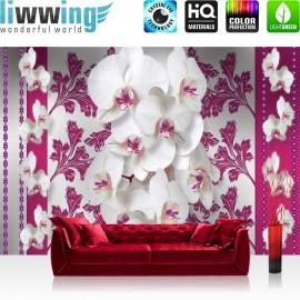 "Vlies Fototapete ""no. 320"" | Orchideen Tapete Blüten Pflanze pink Ornamente Illustrationen weiß Blumen pink"