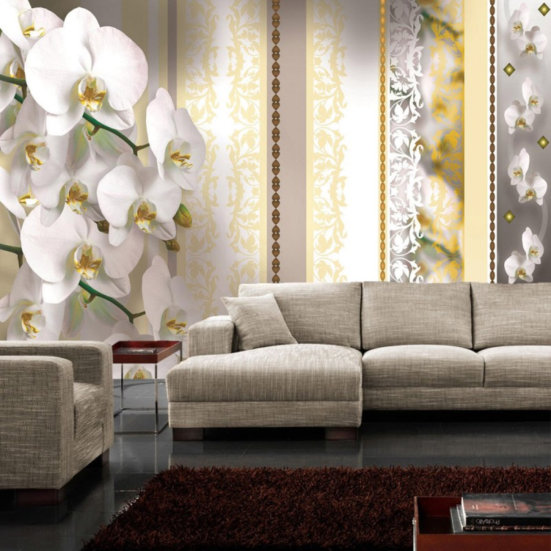 vlies fototapete no 321 orchideen tapete bl ten pflanze orange ornamente illustrationen. Black Bedroom Furniture Sets. Home Design Ideas