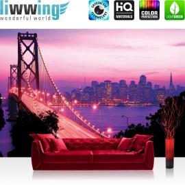 Vlies Fototapete no.1008 | USA Tapete Brücke Himmel Lightning San Francisco Skyline Nacht Golden Bridge lila | liwwing (R)