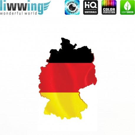 Wandsticker - No. 4623 Wandtattoo Wandaufkleber Sticker Wohnzimmer Flagge Deutschland Germany Landkarte schwarz rot gold