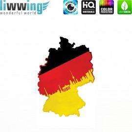 Wandsticker - No. 4624 Wandtattoo Wandaufkleber Sticker Wohnzimmer Flagge Deutschland Germany Landkarte schwarz rot gold