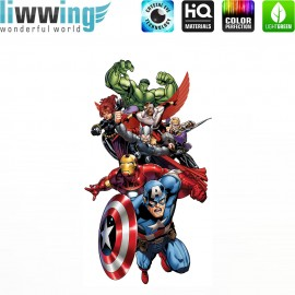 Wandsticker Marvel Avengers - No. 4643 Wandtattoo Wandaufkleber Sticker Kinderzimmer Hulk Iron Man Thor Captain America