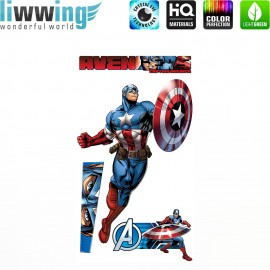 Wandsticker Marvel Avengers - No. 4645 Wandtattoo Wandaufkleber Sticker Kinderzimmer Hulk Iron Man Thor Captain America