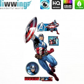 Wandsticker Marvel Avengers - No. 4646 Wandtattoo Wandaufkleber Sticker Kinderzimmer Hulk Iron Man Thor Captain America