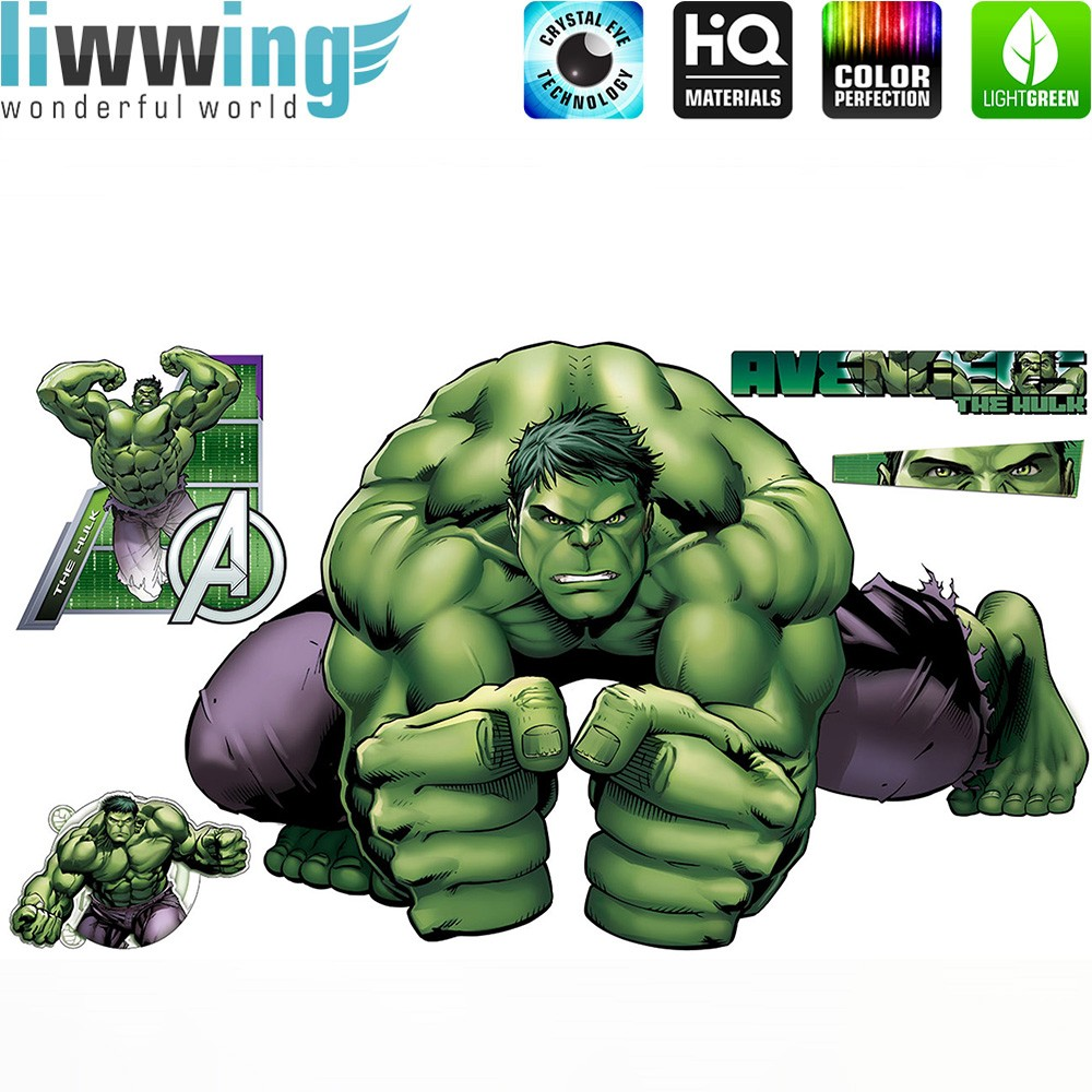 Wandsticker Marvel Avengers - No. 4648 Hulk Iron Man Thor Captain ...