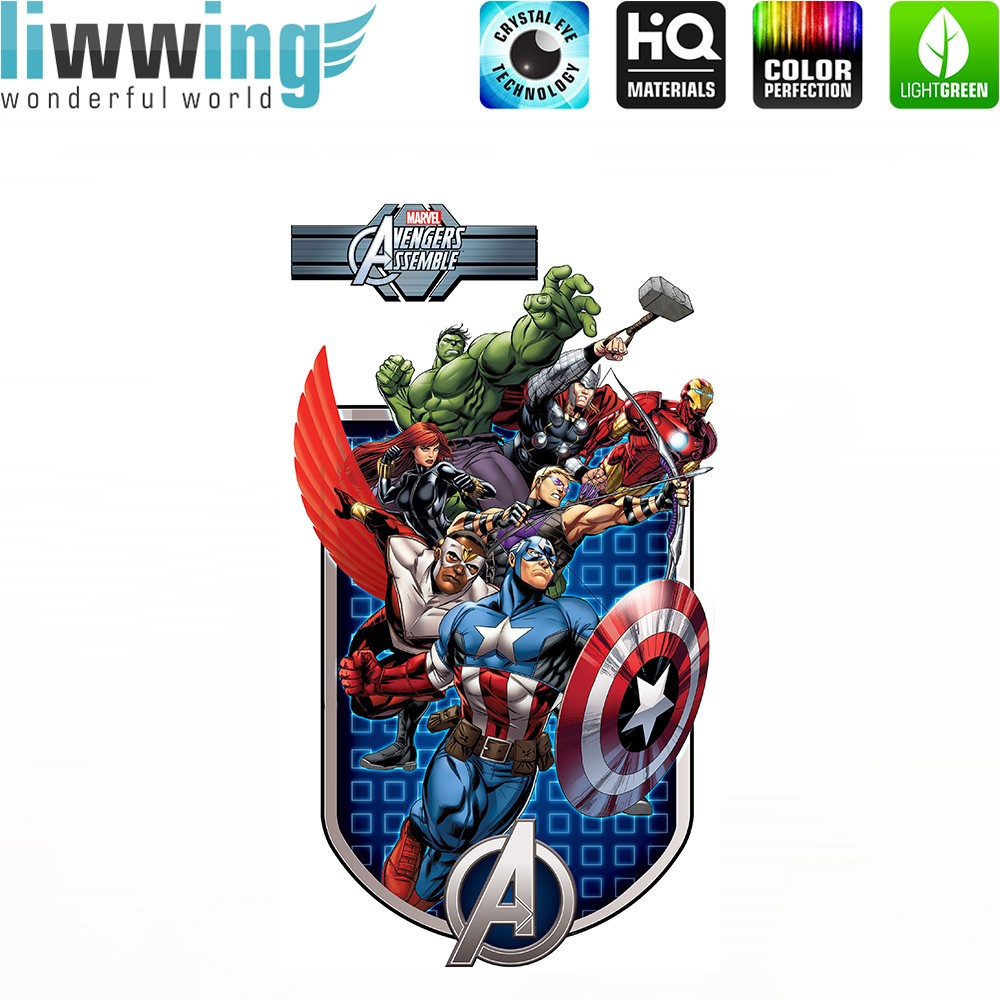Wandsticker Marvel Avengers - No. 4649 Hulk Iron Man Thor Captain ...