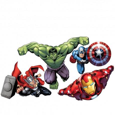 Wandsticker Marvel Avengers - No. 4650 Wandtattoo Wandaufkleber Sticker Kinderzimmer Hulk Iron Man Thor Captain America Cartoons