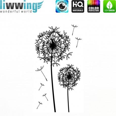 Wandsticker - No. 4654 Wandtattoo Wandaufkleber Sticker Wohnzimmer Pusteblume Schwarz Weiß Dandelion Sommer Frühling